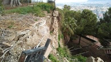 Monreale: cede il muro della villetta comunale, colpa delle piogge