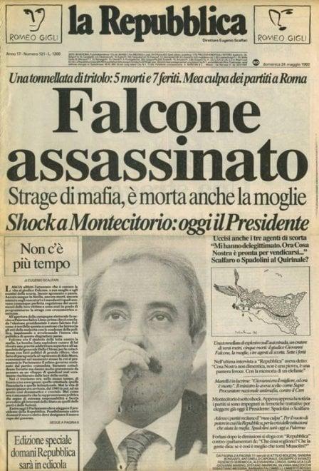 """""""Falcone assassinato"""". La prima pagina di Repubblica del 24 maggio 1992"""