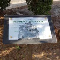 Palermo, danneggiata la targa in memoria di Impastato