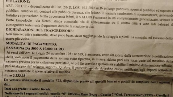 Porto Empedocle: fa pipì sul ciglio della strada, al turista multa da 3.333 euro