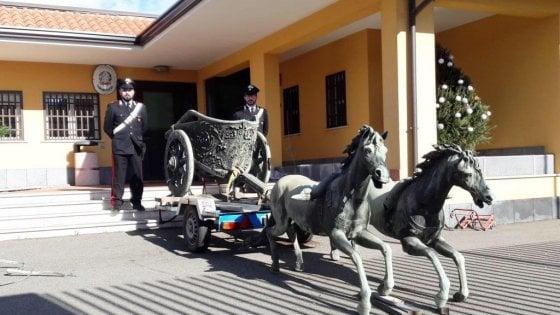 Catania, Biga bronzea di Morgantina trafugata e messa in vendita: blitz dei carabinieri