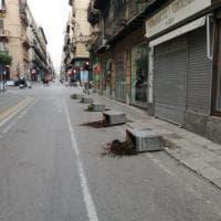 Palermo, danneggiate le fioriere in corso Vittorio Emanuele