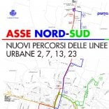 Bus, cambiano linee 2, 7, 13  e 23 lungo asse nord-sud