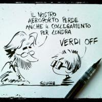 Stop ai voli per Londra da Parma, la vignetta di Fogliazza