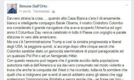 "Traversetolo, sindaco leghista: ""Genocidio indiani imperdonabile, quello europei permesso"""