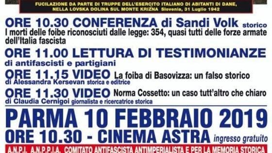 Foibe e fascismo, scontro tra Lega e Anpi sul convegno di Parma