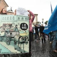 Botticelle, sit-in animalista in Campidoglio: tensione con le forze dell'ordine