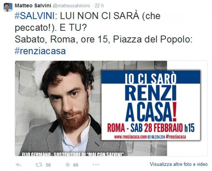 Salvini, nei tweet le foto degli oppositori Elio Germano, Moni Ovadia e Zerocalcare