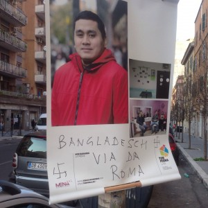 """""""Bangladesh via da Roma"""", insulti e svastiche sui pannelli della mostra multietnica a Torpignattara"""