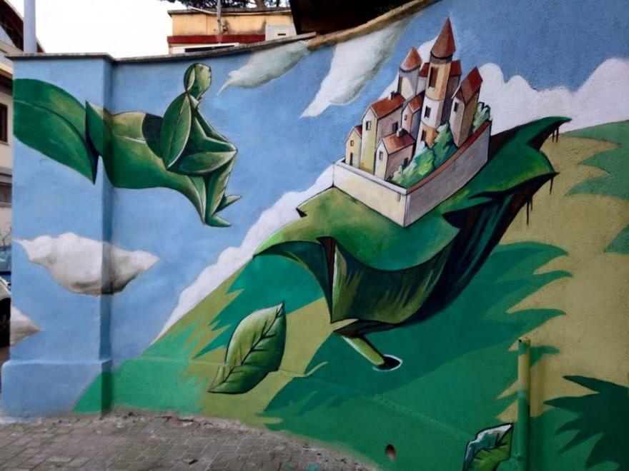 """Top Marconi, inaugurato alla scuola Pascoli il primo """"murales dei  RC14"""