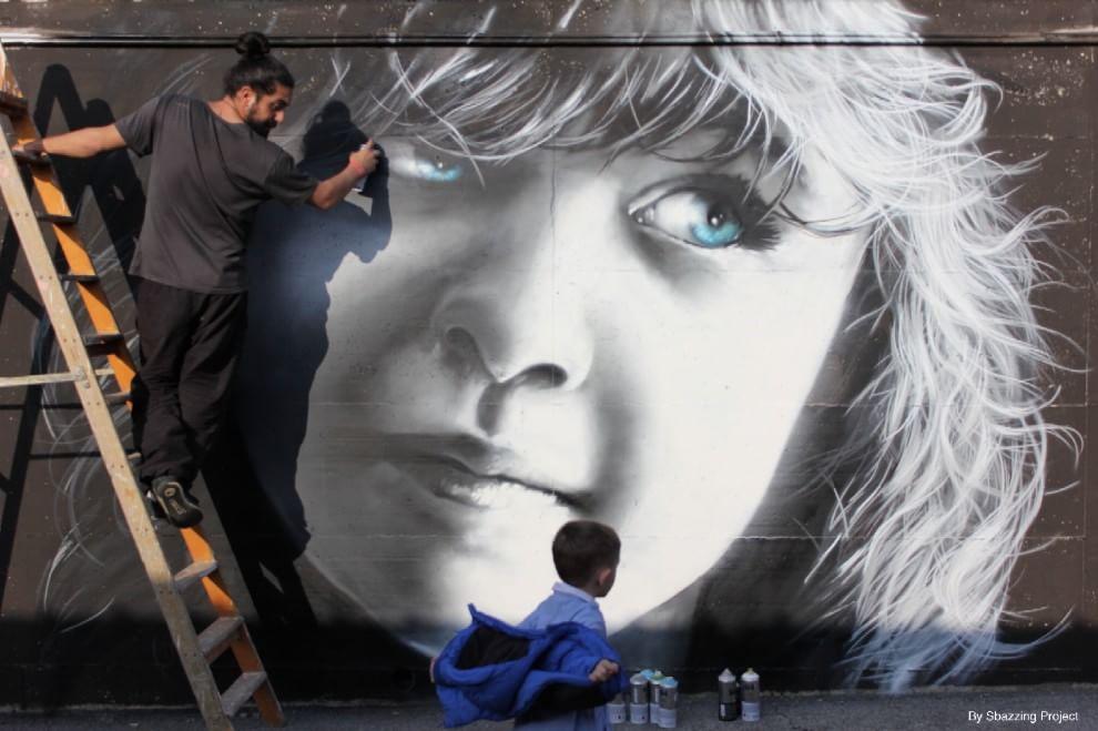 Borghesiana, lo street artist Neve e gli occhi dei bambini