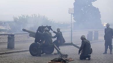 Gianicolo, quattro colpi di cannone a salve per i 100 anni della Grande Guerra
