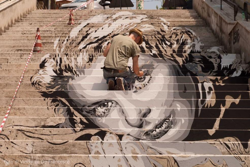 via Fiamignano, un murales per Ingrid Bergman