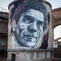 Un murales di Pasolini al Teatro India: l'opera di Frederico Draw