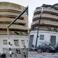 Roma, il palazzo crollato al Flaminio prima e dopo