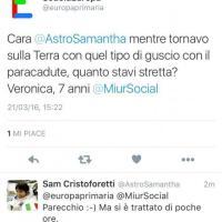 AstroSamantha e gli alunni di una scuola di Roma: domande e risposte sullo spazio a colpi di tweet