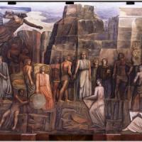 Roma, azzurro Sironi, il murale com'era: alla Sapienza torna il fascio littorio