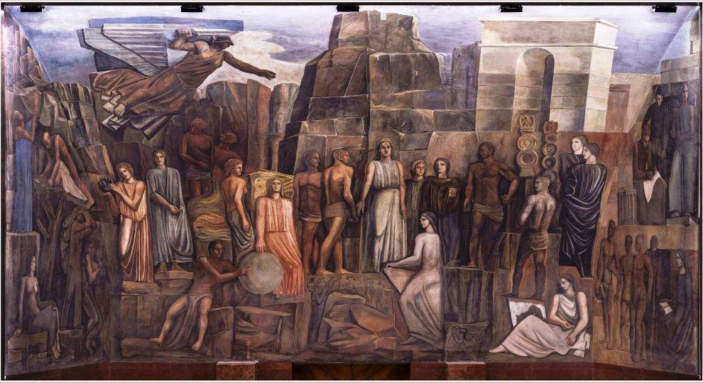 Roma, alla Sapienza torna alla luce il murale di Mario Sironi, dopo il restauro