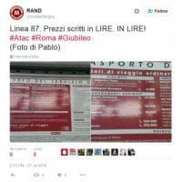 Roma, se il cartello sul bus è ancora in lire