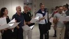 Fiumicino canta l'inno per salutare il Settebello