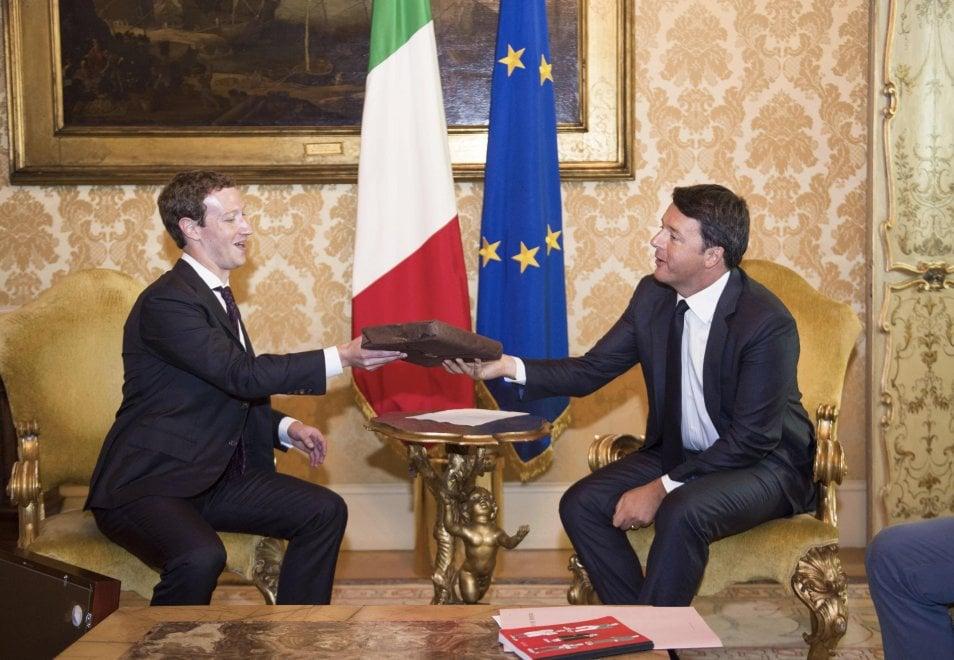 Roma, Renzi incontra Zuckerberg a Palazzo Chigi