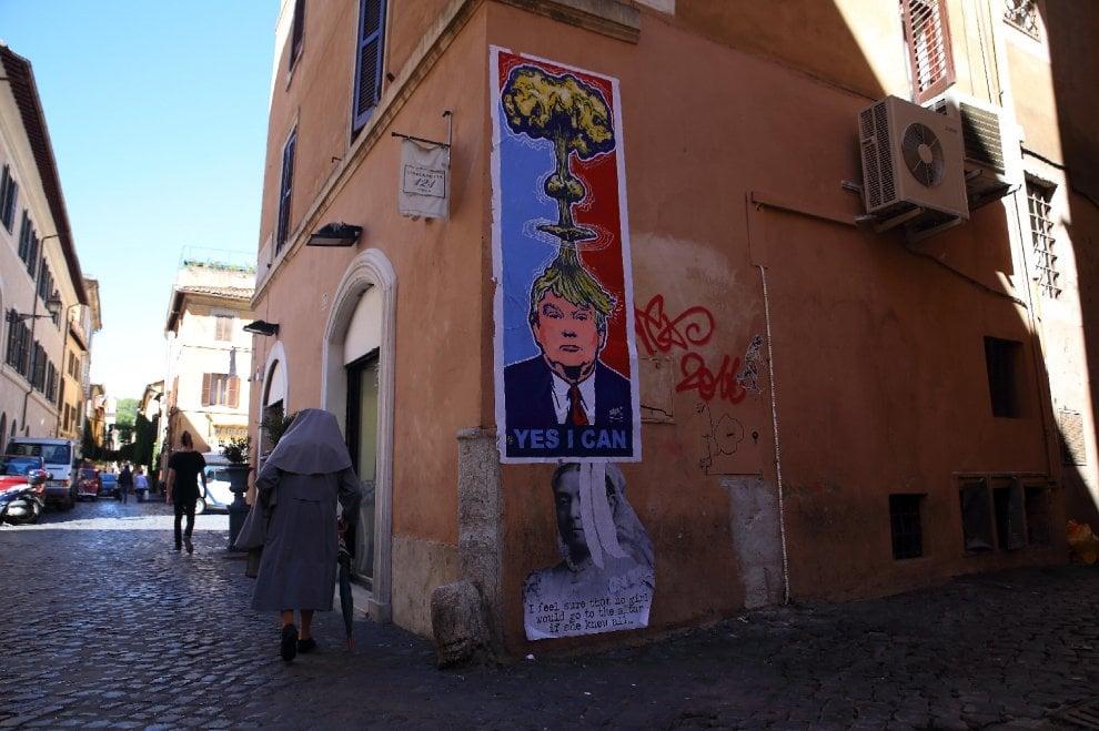 Roma, a Trastevere un Donald Trump molto pop