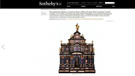 Asta record da Sotheby's per un mobile romano, lo stipo Borghese al Getty museum
