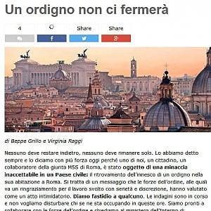 """Roma, Grillo-Raggi: """"Ordigno in casa di un collaboratore della giunta capitolina M5s"""""""
