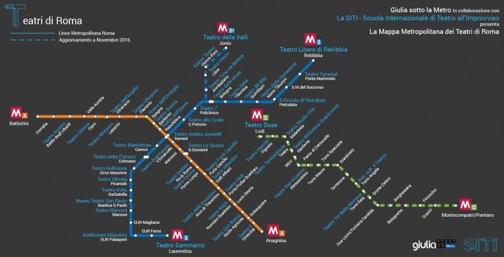 La mappa dei teatri di Roma formato metropolitana