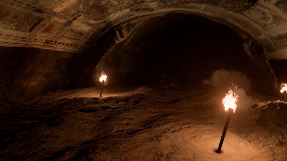 Torce luminose che durante la visita virtuale guidano lo spettatore dal buio completo al giardino della Domus. Photo: roma.repubblica.it