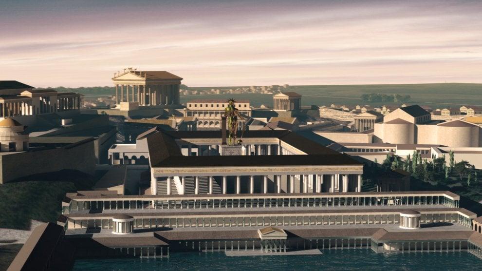 Veduta 3D tramite oculus della visita virtuale della Domus Aurea, con la Statua di Nerone nel panni del re Sole.