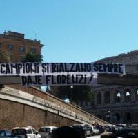 """Roma, al Colosseo lo striscione per Florenzi: """"I campioni si rialzano sempre"""""""