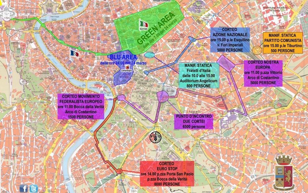 Anniversario dei Trattati di Roma, zone di sicurezza, cortei e sit in: ecco la mappa