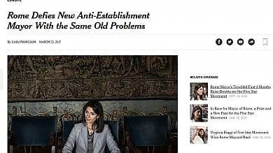 """Nyt: """"Raggi, dimostrazione che i nuovi politici italiani non sono meglio dei vecchi"""""""