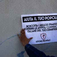 Roma,  multati i manifesti di Azione Frontale contro i negozi degli immigrati. Al via la rimozione