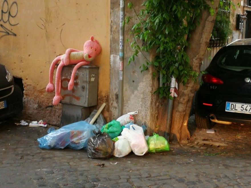 Roma, a Trastevere tra i rifiuti spunta la Pantera rosa