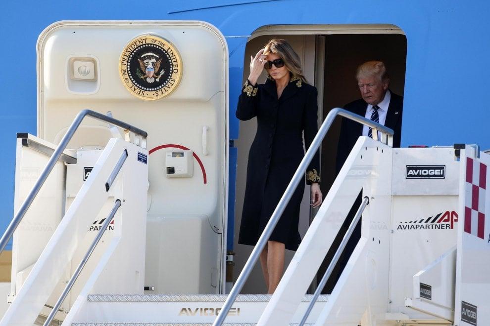 Trump a Roma, l'arrivo dell'Air Force One a Fiumicino