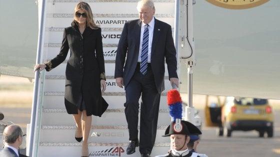 Trump arrivato a Roma. Città blindata, traffico congestionato