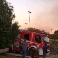 Roma, incendio nel parco della Madonnetta ad Acilia