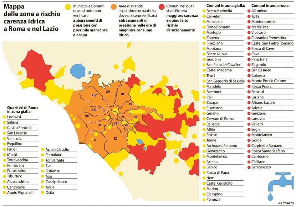 Quartieri Roma Cartina.Emergenza Acqua A Roma La Mappa Dei Quartieri A Rischio La Repubblica