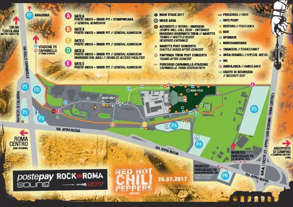 Roma, la mappa di trasporti e parcheggi per il concerto dei Red Hot Chili Peppers
