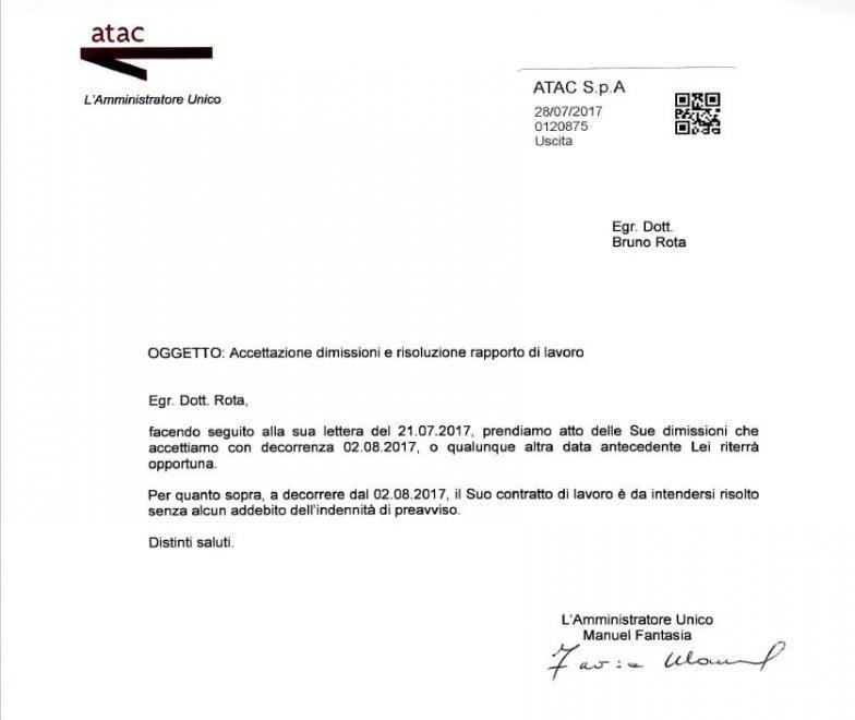 lettera di dimissioni con preavviso da