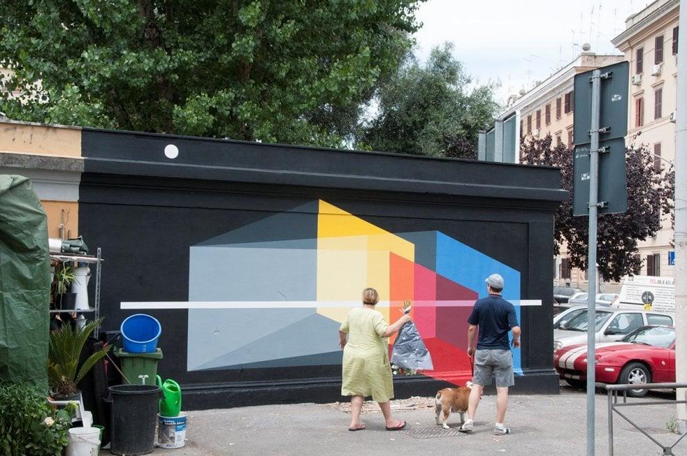 Roma, il murale scomparso di Derek Bruno in piazza del Gazometro