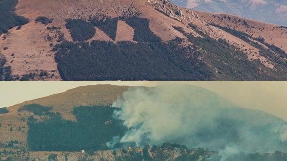 Incendio cancella la scritta Dux sul fianco della montagna