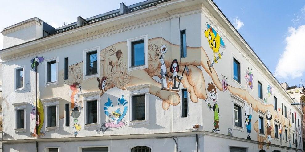 Roma, all'Ostiense un murale per i 25 anni di Cartoon Network
