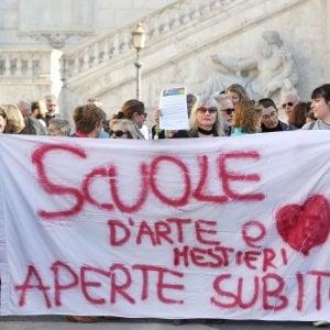 Roma, in Campidoglio la protesta degli studenti di arti e mestieri