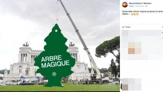 """Roma, Raggi: """"Albero di piazza Venezia semplice e raffinato"""". Ma su """"Spelacchio"""" si scatena l'ironia social"""