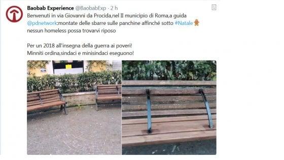 """Panchine anti-bivacco a Roma in piazza Bologna: insorgono associazioni. Paolo: """"Ottima soluzione"""""""