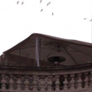 Roma, spunta un ombrellone accanto alla cupola di Sant'Agnese in Agone a piazza Navona / VIDEO