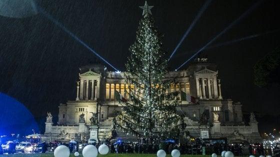 """Roma, si spengono le luci: """"festa di addio"""" per Spelacchio. Montanari: """"Libro con messaggi lasciati sui rami"""""""